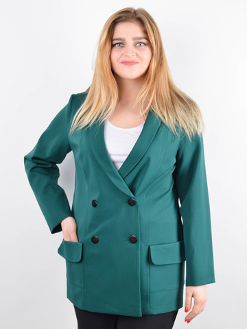 Дольче. Пиджак для офиса plus size. Изумруд.
