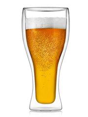 Стакан с двойными стенками для пива 500 мл, стеклянный