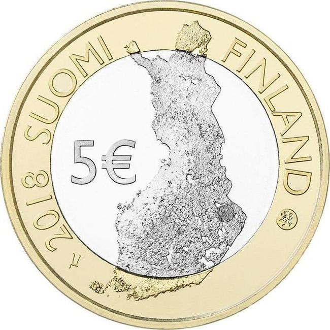 5 евро. Финляндия - Ландшафты долины реки Порвооньйоки. 2018 год