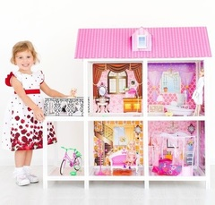 PAREMO Двухэтажный кукольный дом (4 комнаты, 3 куклы) (PPCD116-02)