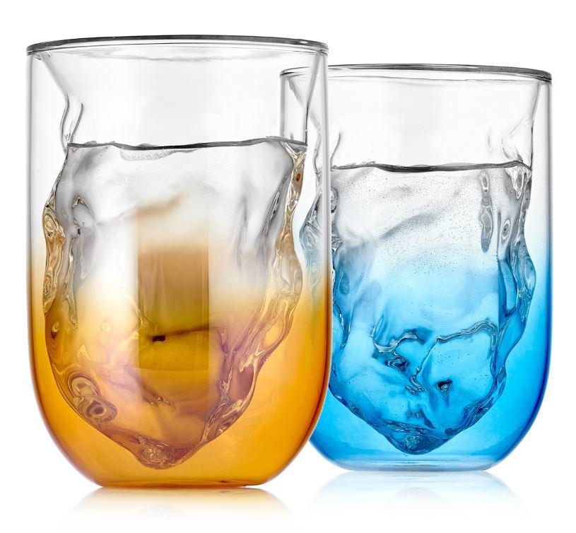 Кружки, стаканы Стаканы с двойными стенками UFO Glaffe 350 мл, цветные, градиент синего и зеркально золотого - 2 шт stakan-s-dvoynimy-stenkamy-UFO-gradient-glaffe-2-103-250g-b.JPG
