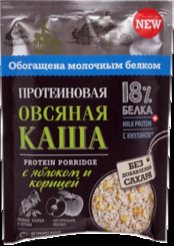BIONOVA Протеиновая овсяная каша с яблоком и корицей, порционная (1 шт.)