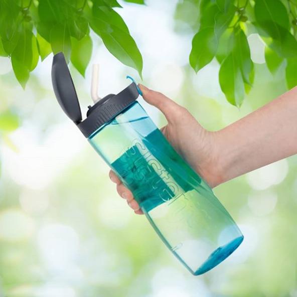 "Бутылка для воды с трубочкой Sistema ""Hydrate"", Тритан, 800 мл, цвет Голубой"