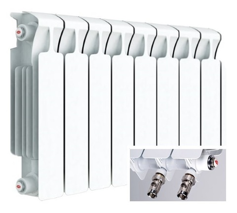 Rifar Monolit Ventil 350, 8 секций - радиатор биметаллический с нижним правым подключением