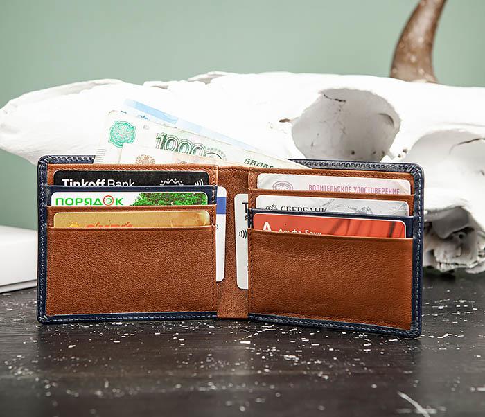 WL320-3 Классический кошелек для купюр и карт из синей кожи, «Moriz» фото 09