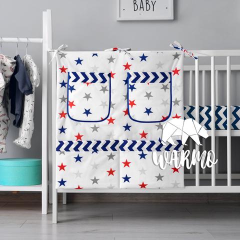 органайзер для ліжечка з синіми і червоними зірками фото