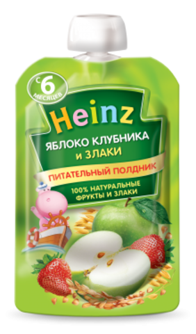 Heinz Пюре Яблоко-клубника 5 злаков (пауч 90гр) с 6мес