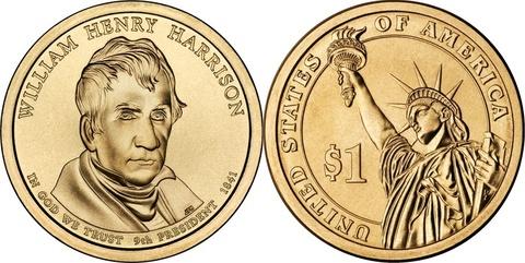 1 доллар 9-й президент США Уильям Генри Гаррисон 2009 год