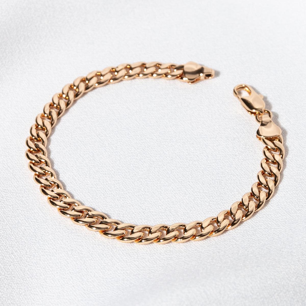Браслет гладкого панцирного плетения 6мм (золотистый)