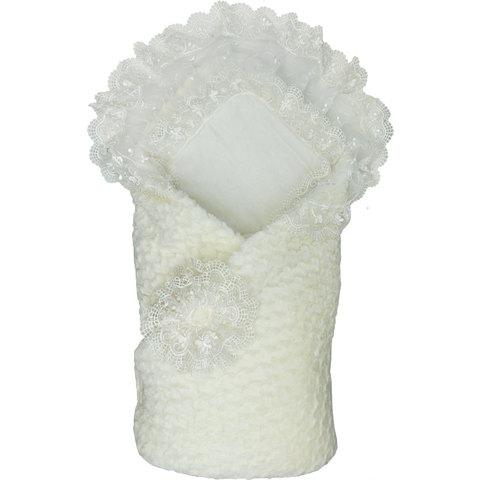 Папитто. Конверт-одеяло на выписку на липучке с кружевом, 100*100 см, экрю