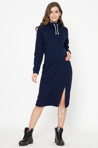 Утепленное спортивное платье для беременных и кормящих 12170 синий