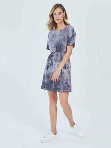 Платье для кормящих пояс-резинка Тай-дай Серый/Бел