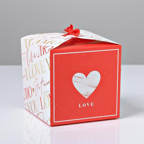 Коробка складная «Люблю», 12 × 12 × 12 см