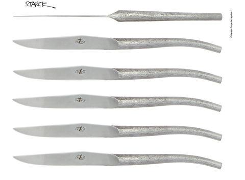 Набор из 6 цельнометаллических кованных столовых ножей, Forge de Laguiole, дизайн Philippe STARCK T6 LOG *