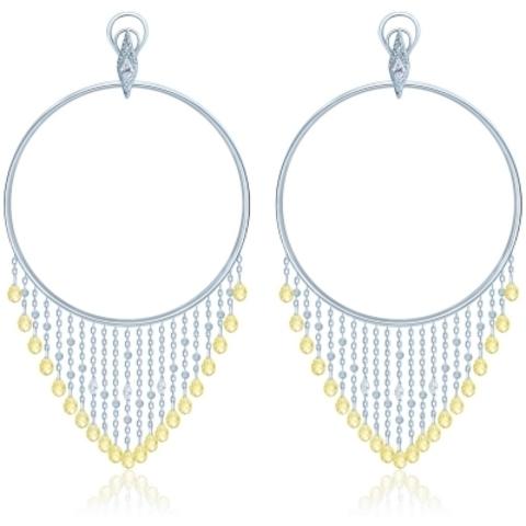5009- Серьги-обручи Hoop из серебра с желтыми подвесками каплями бриллиантовой огранки