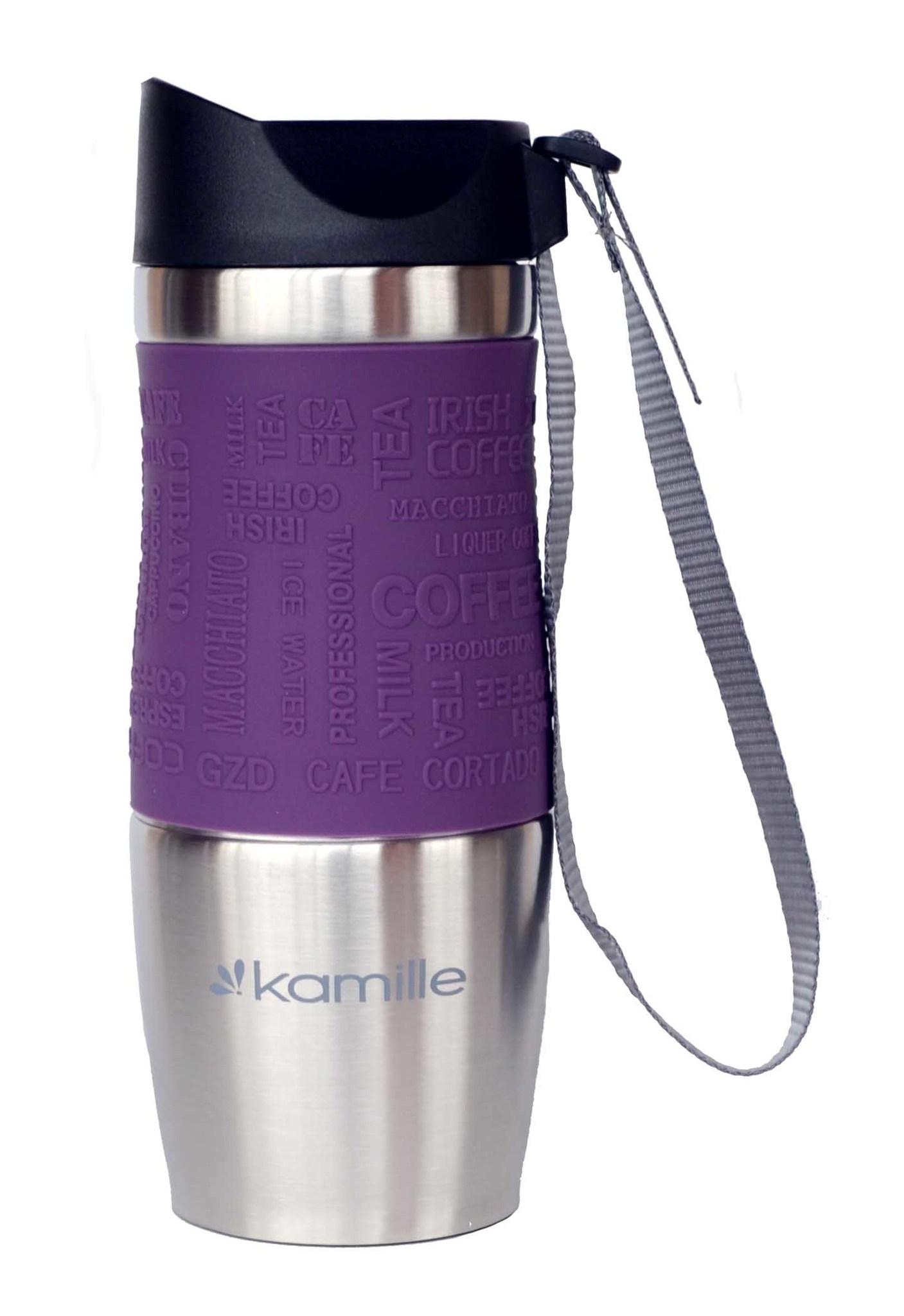 Термокружка Kamille c TPR и ремешком 380 мл. (хром) фиолетовая