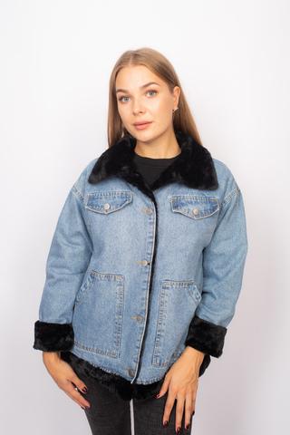 Джинсовая куртка с мехом черного цвета недорого