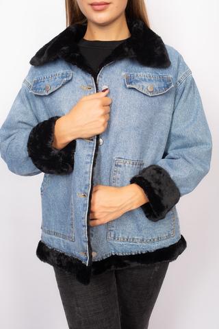Джинсовая куртка с мехом черного цвета Nadya