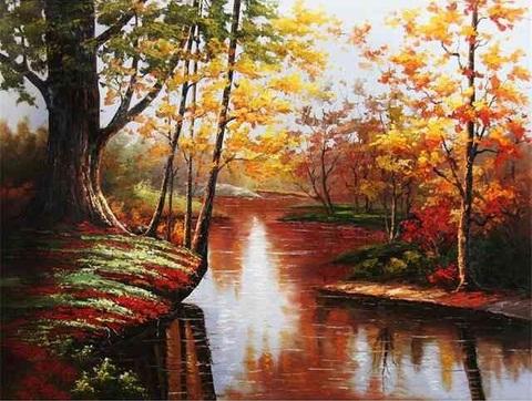 Картина раскраска по номерам 40x50 Озеро в лесу (арт. PH9409)