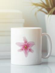 Кружка с изображением  Цветы (Лилии) белая 001