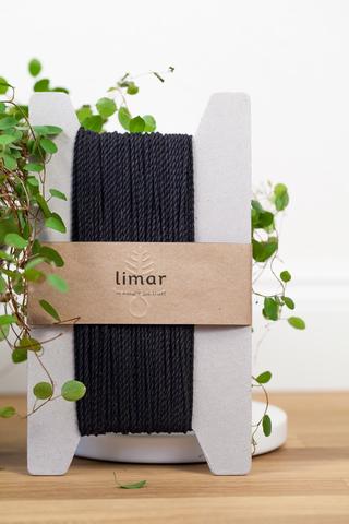 Хлопковый витой шнур черный 2 мм