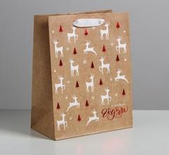 Пакет крафтовый вертикальный «Олени на полянке», MS 18 × 23 × 10 см, 1 шт.