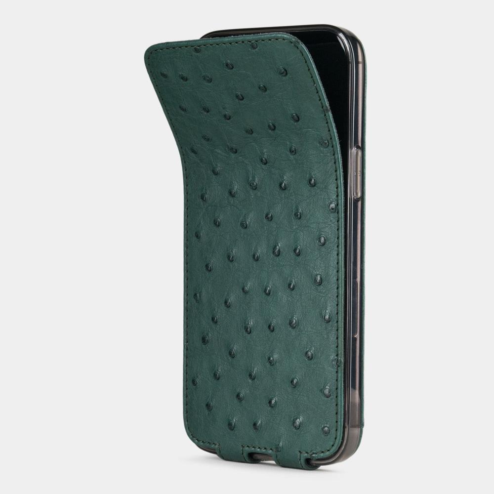 Чехол для iPhone 12 Pro Max из натуральной кожи страуса, зеленого цвета