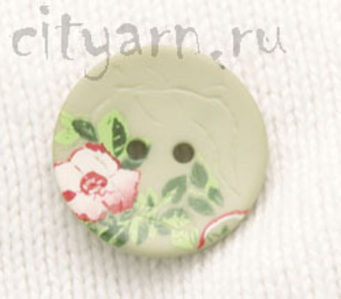Пуговица с цветком шиповника, светло-зелёная, 20 мм