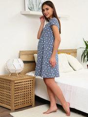 Мамаландия. Сорочка для беременных и кормящих с кнопками большие размеры, звезды/темно-серый
