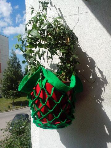 кашпо для цветов подвесное, зеленое