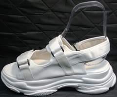 Белые сандали с белой подошвой женские Small Swan PM23-3 White.