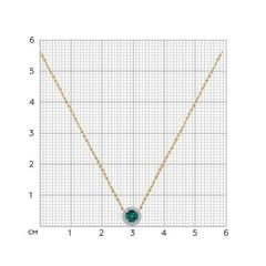 3070004 - Колье из золота с круглой подвеской бегунком, вставка бриллиант и  изумруд