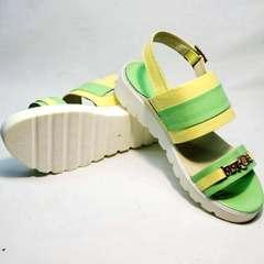 Женские босоножки сандали на танкетке Crisma 784 Yellow Green.
