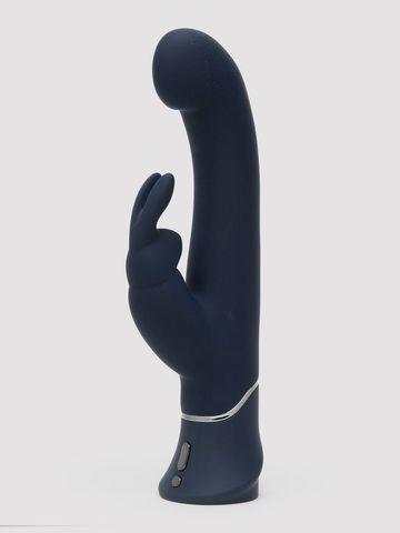 Темно-синий вибратор-кролик Greedy Girl Real-Feel Rabbit Vibrator - 25,4 см.