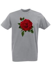 Футболка с принтом Цветы (Розы) серая 001