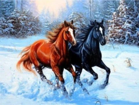 Алмазная Мозаика 20x30 Лошади в зимнем лесу (арт. MTC3322)
