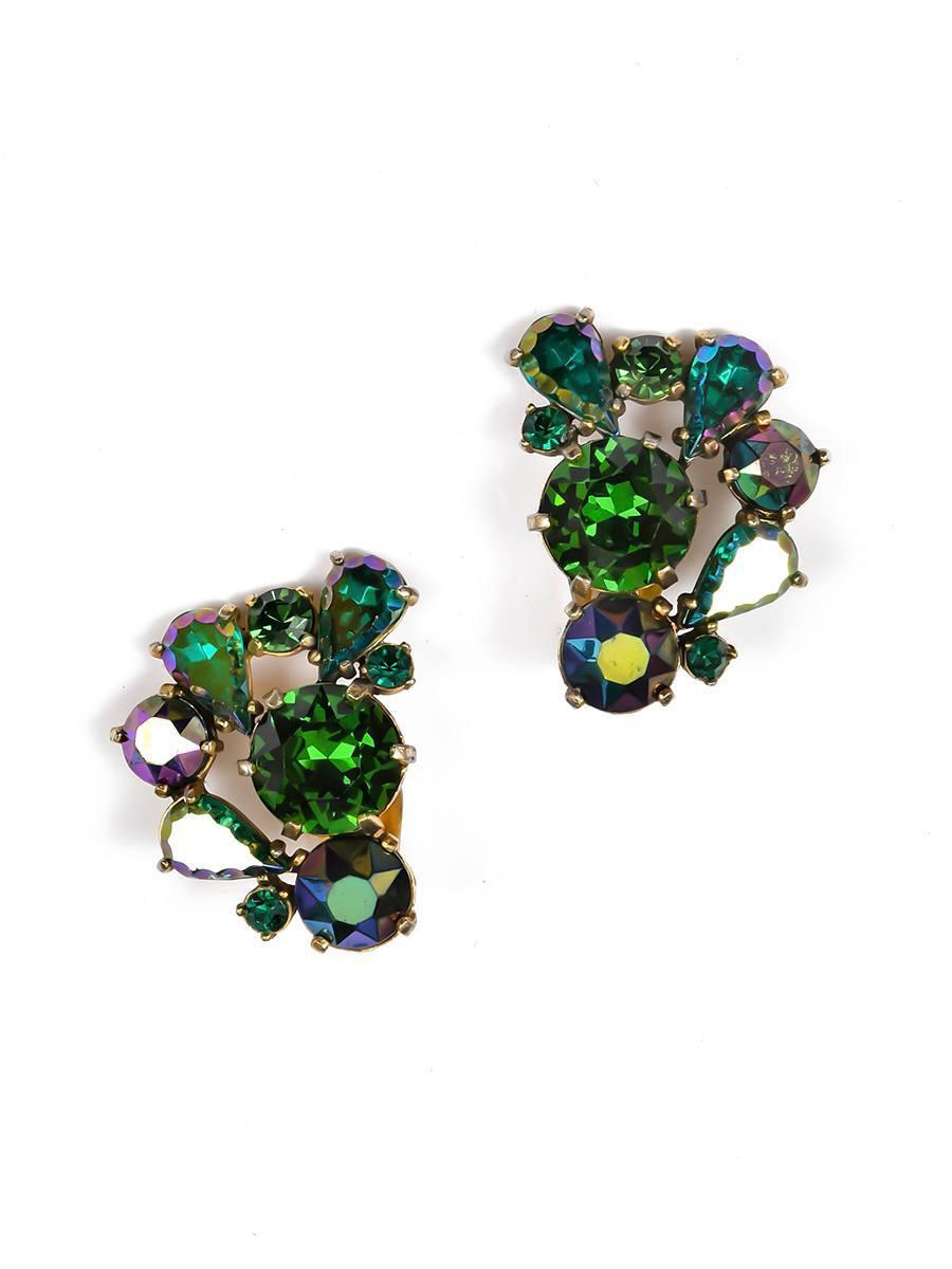 Яркие клипсы Schiaparelli с кристаллами
