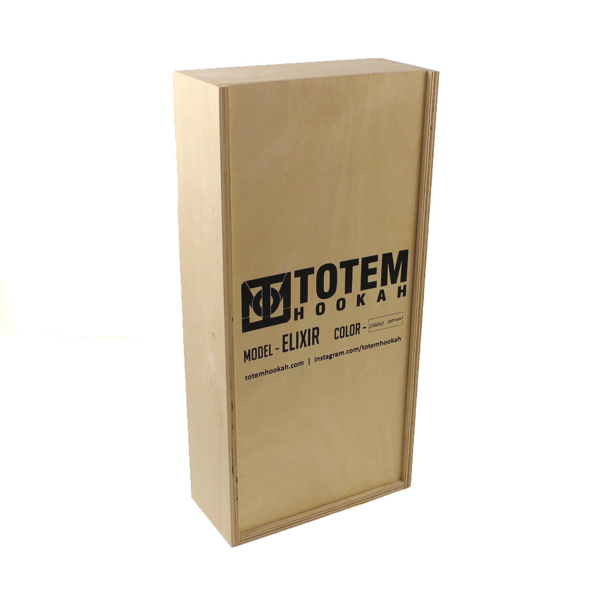 Фирменный деревянный ящик для шахты Totem Elixir в закрытом состояние