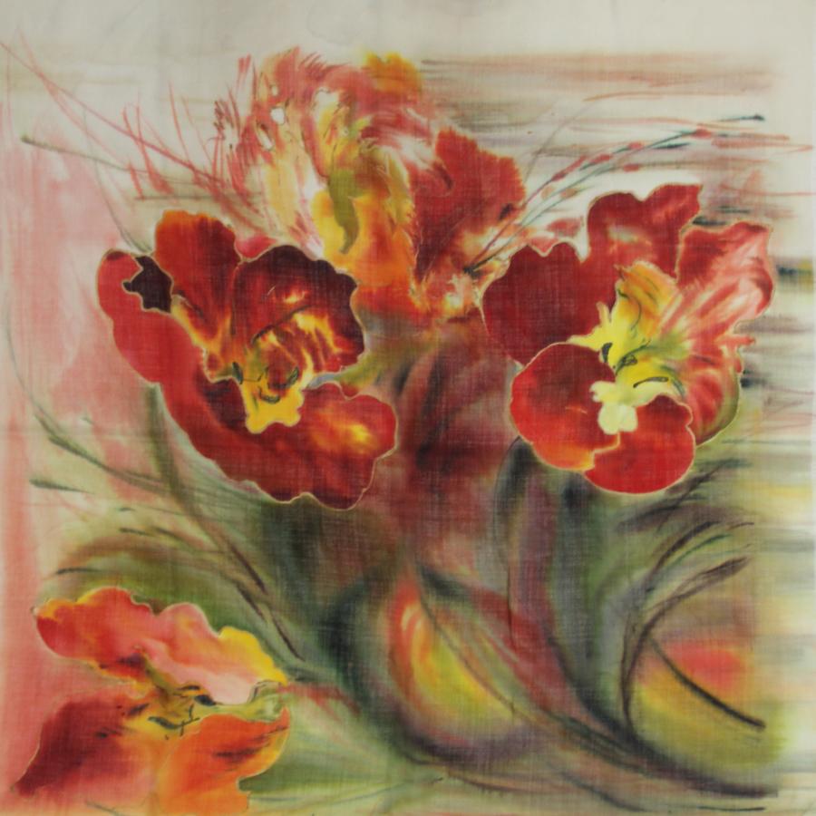 Шерстяной платок батик Тюльпаны алые С-60-sh