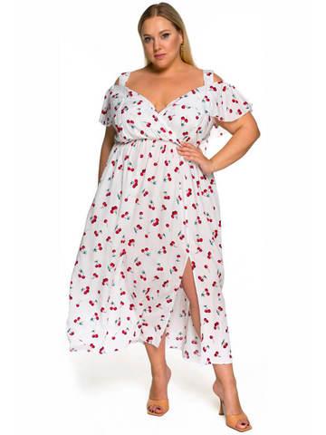 Платье с крылышком Вишни на белом