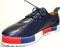 Кеды женские кожаные. Синие слипоны на шнурках Rifellini Rovigo Blue.