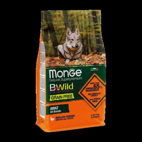Monge Dog BWild Grain Free Сухой корм для взрослых собак всех пород из утки с картофелем, беззерновой