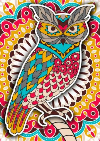 Алмазная Мозаика 40x50 Геометрическая сова (арт. GA73010)