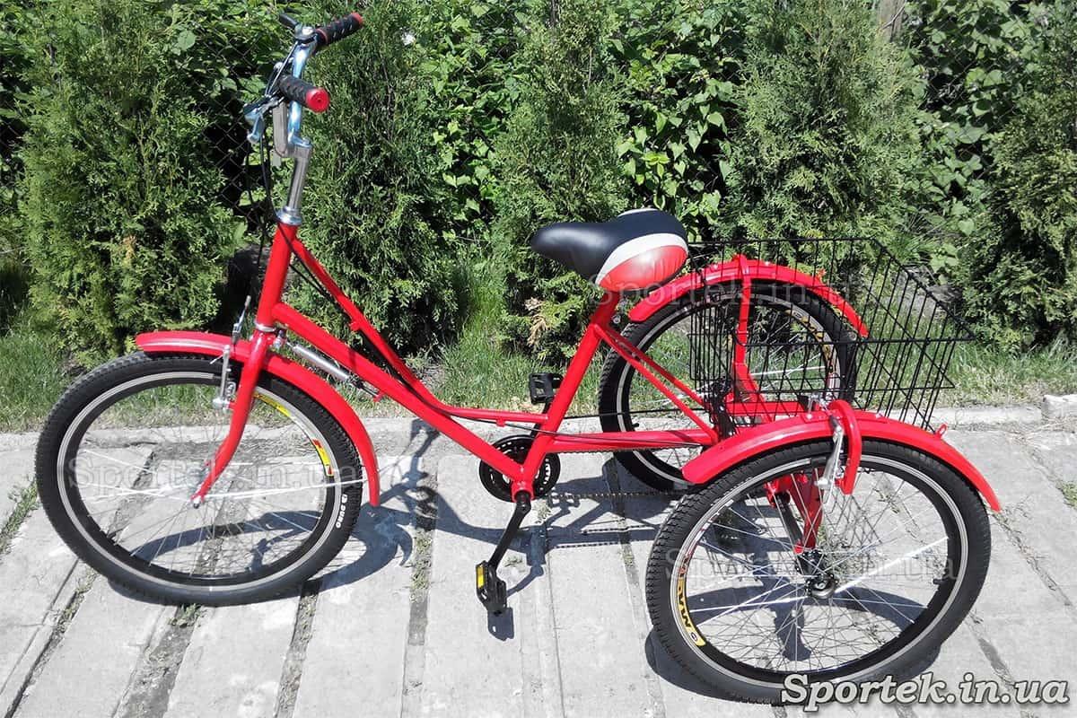 Триколісний велосипед 'Міський з кошиком 24' (червоний)