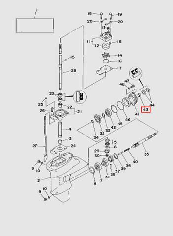 Подшипник вала винта  для лодочного мотора T15, OTH 9,9 SEA-PRO (16-43)