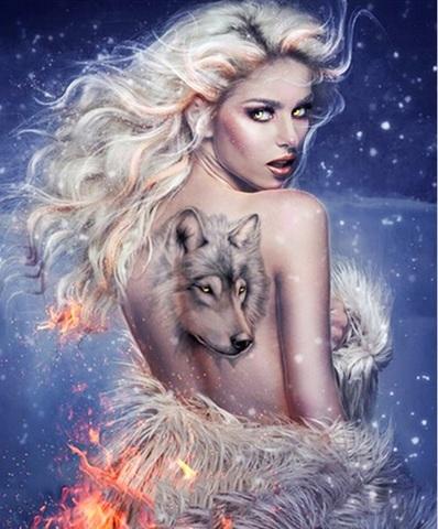 Картина раскраска по номерам 40x50 Девушка с татуировкой волка