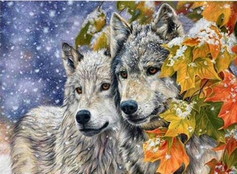 Алмазная Мозаика 40x50 Волк и волчица под снегом (арт. MGL3463 )