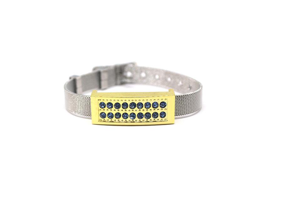 usb-флешка металлический браслет золото с голубыми стразами