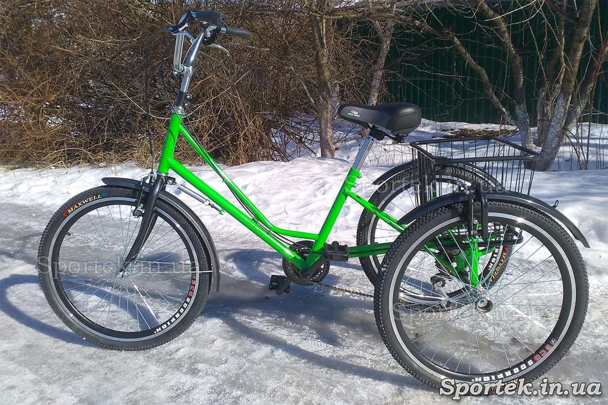 Триколісний велосипед 'Міський з кошиком 24' (зелений)