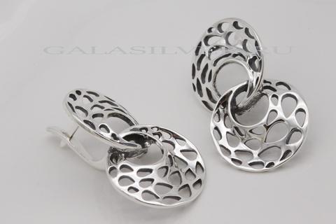 Серьги из серебра без камней дизайнерские к Уху.
